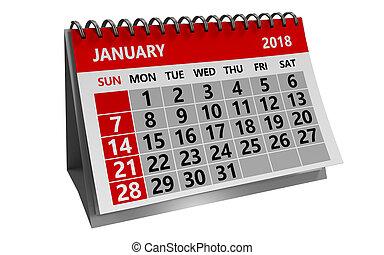 janvier, calendrier, 2018