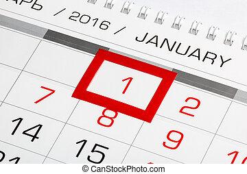 janvier, marqué, 1, calendrier, 2016, page