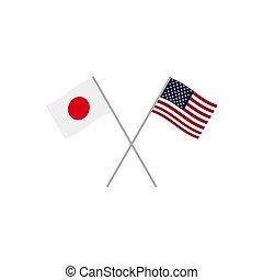 japán, és, usa, zászlók