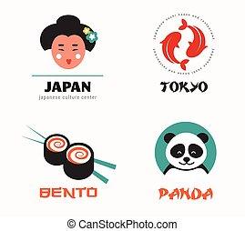 japán étel, és, sushi, ikonok, étrend, tervezés