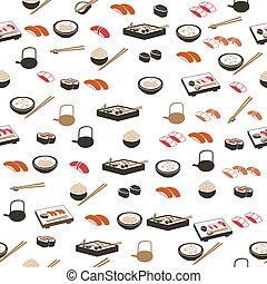 japán étel, seamless, motívum