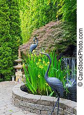 japán, beszívott, kert, noha, tavacska