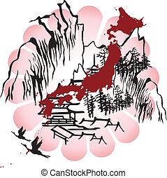japán, kép, interpreted
