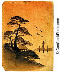 japán, painting., öreg, postcard.