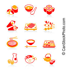 japán, sushi-bar, ikonok, lédús, |
