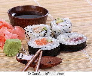 japán, sushi, hagyományos, japán étel