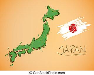 japán, térkép, és, nemzeti lobogó, vektor