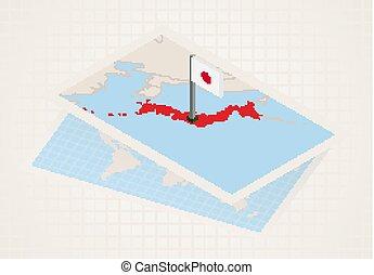 japán, térkép, kiválasztott, japan., isometric, lobogó