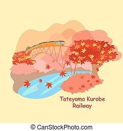 japán, vasút, kurobe, tateyama