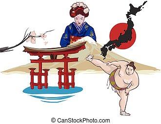 japán, vektor, ábra