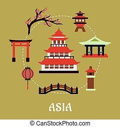 japão, arquitetônico, e, cultural, símbolos, apartamento,...
