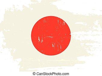 japão, arranhado, bandeira
