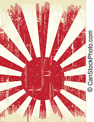 Japão, bandeira,  grunge