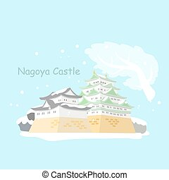 japão, castelo, inverno, nagoya