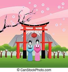 japão, desenho, arco, cultura