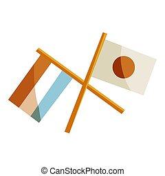 japão, e, países baixos, bandeiras, ícone, caricatura, estilo