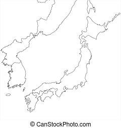 japão, em branco, mapa