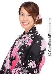 japão, mulher, quimono, pano