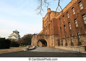 japão, osaka, histórico, castelo, osaka