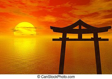japão, pôr do sol