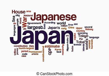 japão, palavra, nuvens