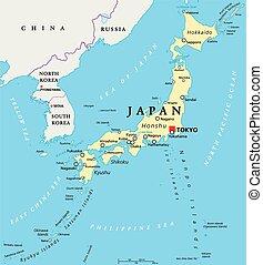 japão, político, mapa