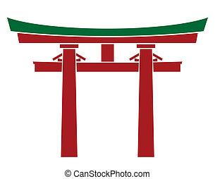 japão, portão, -, torii