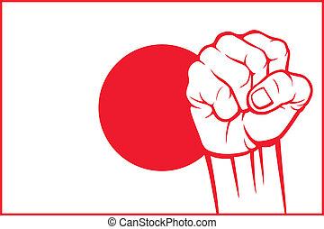 japão, punho, (flag, de, japan)