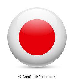 japão, redondo, lustroso, ícone