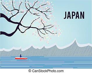 japão, sakura, paisagem, água