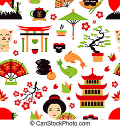 japão, seamless, padrão