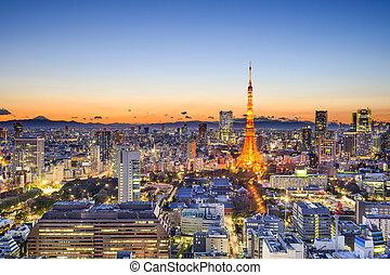 japão, skyline, tóquio