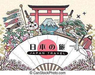 japão, viagem, deslumbrante, cartaz