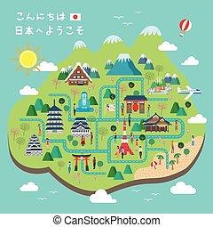 japón, ambulante, adorable, mapa