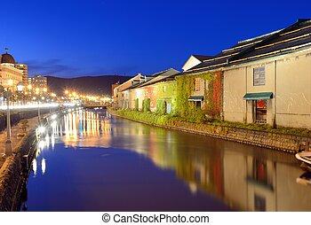 japón, canales, otaru