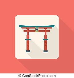 japón, coloreado, torii, tradicional, puerta, icono, vector...