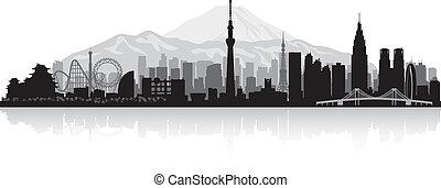 japón, contorno, tokio, silueta, ciudad