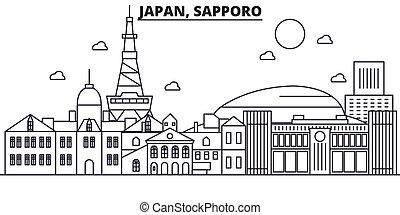 japón, golpes, vistas, diseño, sapporo, cityscape, paisaje, ...