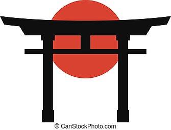 japón, icono, torii