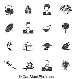japón, iconos, negro