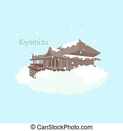 japón, invierno, kiyomizu, nieve