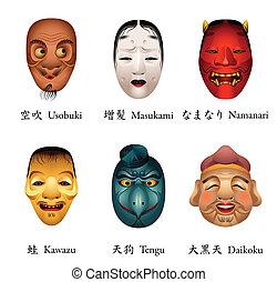 japón, máscaras, vi