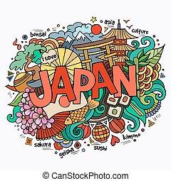 japón, mano, letras, y, doodles, elementos, plano de fondo