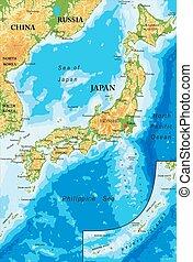 japón, mapa en relieve