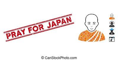 japón, monje, mosaico, watermark, budista, rogar, grunge, líneas