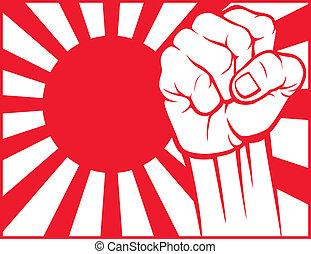 japón, puño, (flag, de, japan)