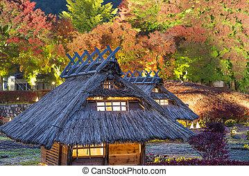 japón, réplica, aldea