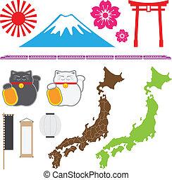 japón, símbolo, conjunto