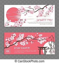 japón, sakura, banderas horizontales, conjunto