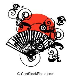 japón, vector, símbolo, diseño, con, ventilador